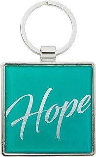 "Keychain for Women & Men Bible Verse Faith Keyring, Epoxy/Metal, 2"" Square"