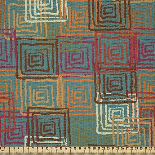 ABAKUHAUS Geometriskt tyg som metervara, grunge-Folk-regnbåge, mikrofiber multi-syfte dekorativt tyg för konsthantverk, 3 m (230 x 300 cm), flerfärgad