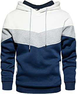 Mens Hoodie Pullover Fleece Lined Sweatshirt with Patchwork Contrast Color Sport Outerwear