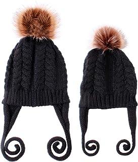 Conjunto de Sombreros para mamá y bebé Gorro de Invierno cálido de Punto para Padres e Hijos Kits de Sombreros para bebés con Pompones para bebés y niñas