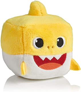 OMGOD Square Baby Shark Plush Toy, Baby Shark Family Song Doll, Can Sing, Preschool Plush Interactive Toys Animated Plush Doll Present Gift for Baby & Toddler (Yellow-Baby Shark Square)