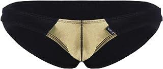iEFiEL Men's Bikini Briefs Low Rise Color Block Pouch Bikini G String Underwear