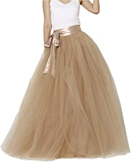 Women Floor Length Bowknot 5-Layered Tulle Party Evening Tutu Skirt