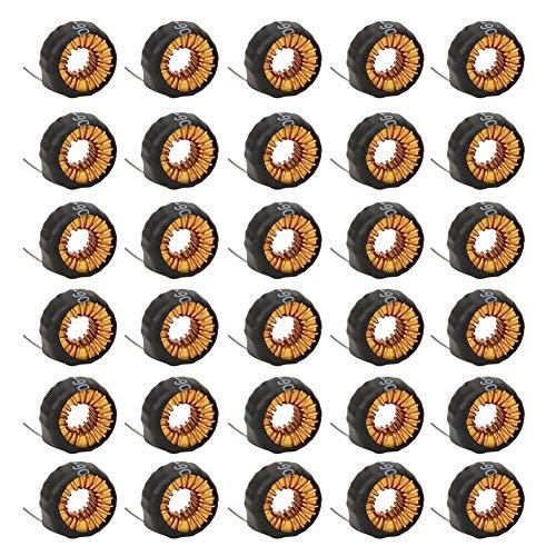 Gojiny Alambre Inductor Toroide 30 Piezas Bobina Inductora Toroide Bobina de Cobre Horizontal Inductores de Núcleo Toroide Alambre con Tubo de Carcasa 5026 15Uh 6A