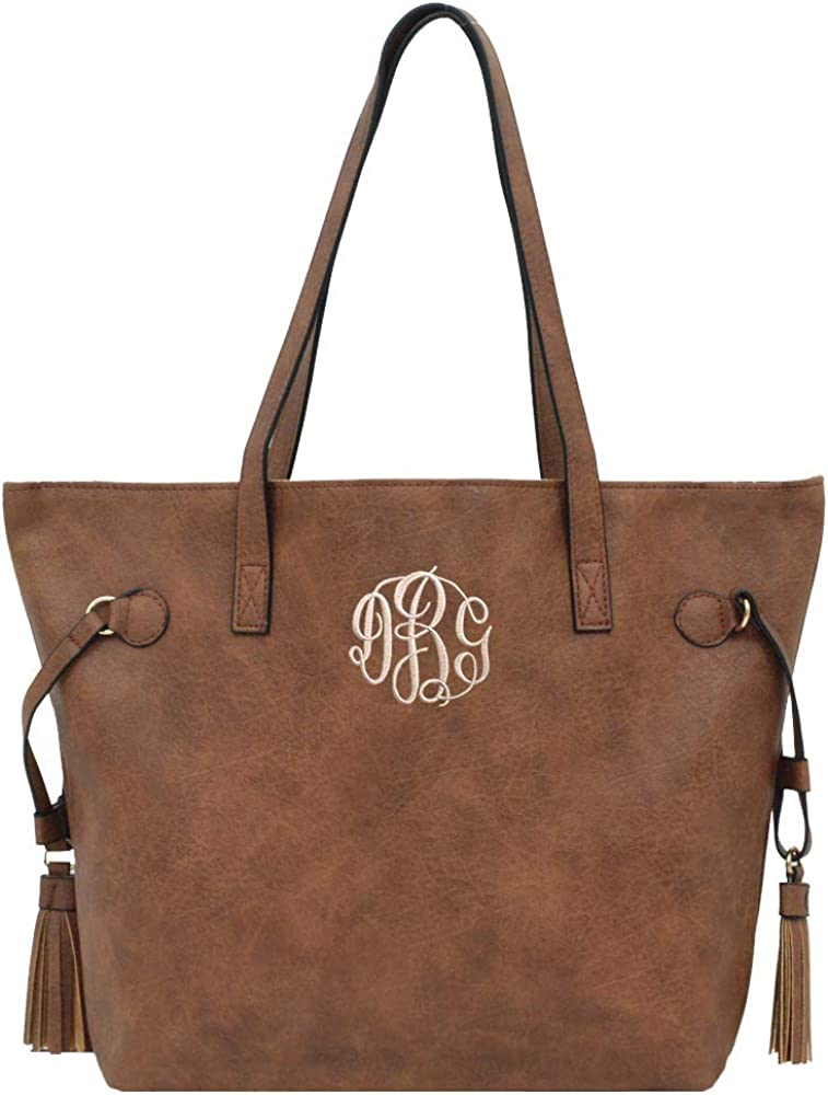 Monogrammed Atlanta Mall Vegan Leather Women's Shoulder Year-end annual account With Tote Tassels