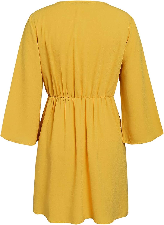 manga larga corte corto estilo vintage cuello en V Vestido de verano para mujer para la oficina gasa MsLure