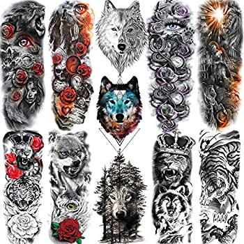 11 Sheets NEZAR Cool Roaring Wolf Lion Tiger King Full Arm Temporary Tattoos Sleeves For Men Women Forest Large Rose Flower Eye Tatoos Paper Animals Armband Body Art Big Fake Tattoo Sticker Long Size