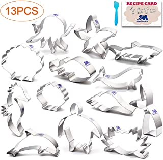Under The Sea Cookie Cutter Set with Recipe 13 Piece Mermaid cookie cutter Crab, Seahorse, Clownfish, turtle, Mermaid Tail, Shell, Shark and more, Ocean Creatures Cutter Stainless Steel