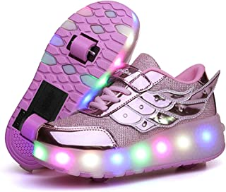 Ufatansy Kids Wheels Lightweight Fashion Sneakers LED Light Up Shoes Single Wheel Double Wheels Roller Skate Shoes