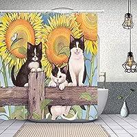 花の装飾、ひまわりの木のかわいい猫、ポリエステル生地のシャワーカーテンセット、幻想的な装飾バスカーテン、69X、ブラックイエロー(Multi23) 165X180 CM