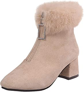 Women Winter Warm Boots, Ladies Solid Round Toe Square Heel Fron Zipper Plush Suede Snow Boots