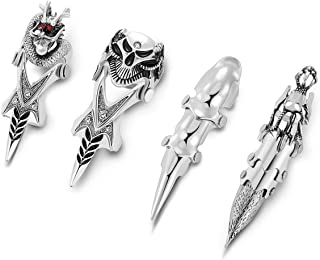 Jovivi Men's Jewelry Silvery Armour Knuckle Full Finger Double Loop Activity Ring Punk Rock Gothic Cool,1-4pcs