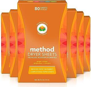 Method Dryer Sheets, Ginger Mango, 80 Count, Pack of 6