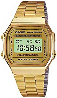 Casio Men's Gold Dial Stainless Steel Band Watch - A168WG-9EF