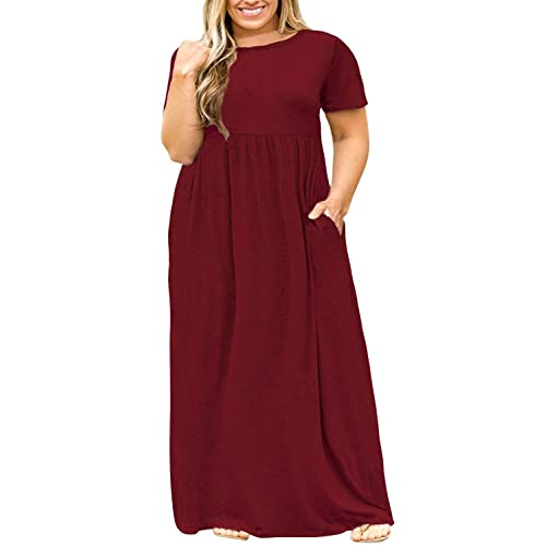 c6581ed6884 POSESHE Women s Plus Size Tunic Swing T-Shirt Dress Long Sleeve Maxi Dress  with Pockets