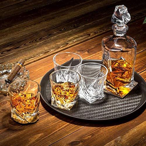 LITINGT Juego de distorsión de decantador de Whisky, dispensador de Alcohol de garrafa de 800 ml con 6 Vasos, Regalo para papá, Esposo, Novio o Mujer