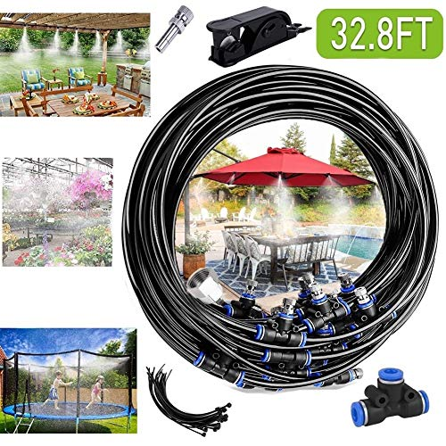 """Misting Cooling System 32.8FT (10M) Misting Line + 10 Brass Mist Nozzles + 3/4""""Brass Threaded Adapter Mist Cooling Kit for Trampoline Patio Misting Micro Flow Watering Automatic Distribution System"""