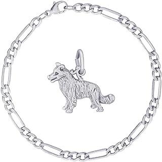 Rembrandt Charms Sterling Silver Border Collie Charm Bracelet, 7