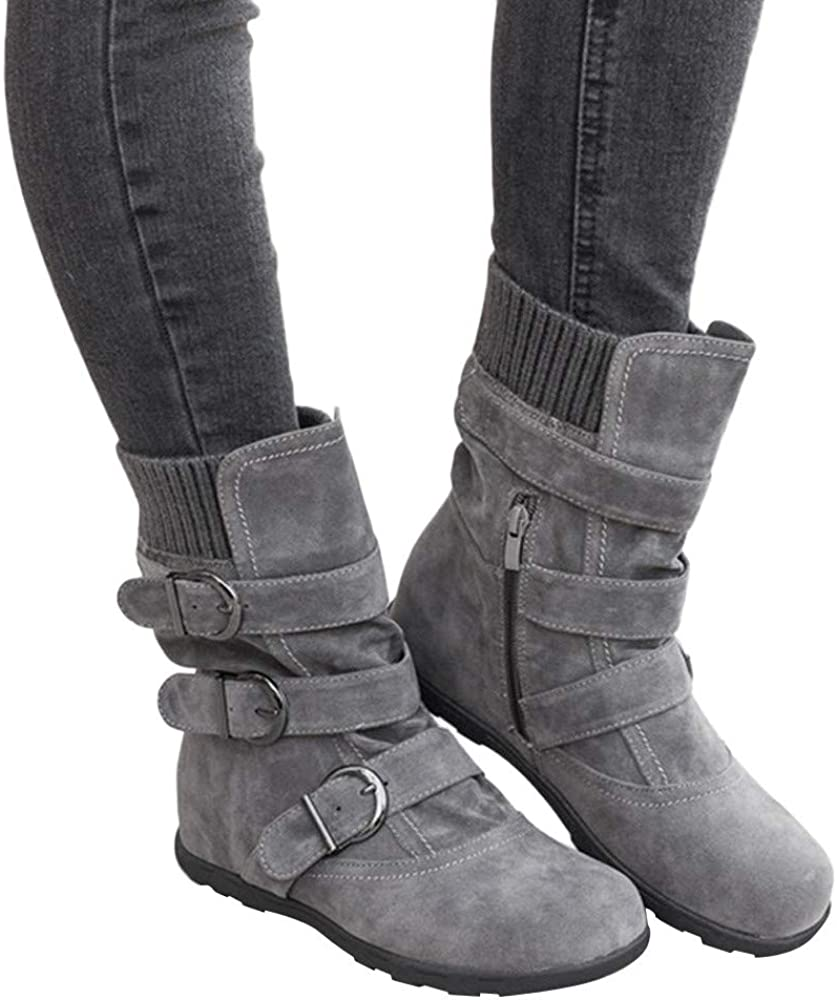 NLOMOCT Boots for Women, Women's Winter Zipper Buckle Strap Warm Snow Boots Casual Ankle Boots for Women Platform Boots