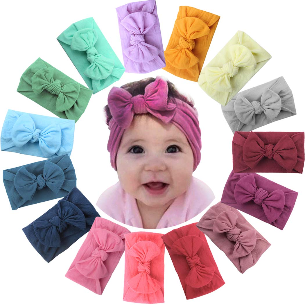 ALinmo 15Pieces Nylon Newborn Headband Big Nylon Hair Bow Girl's Headbands for Newborns Toddler Infants Kids and Children