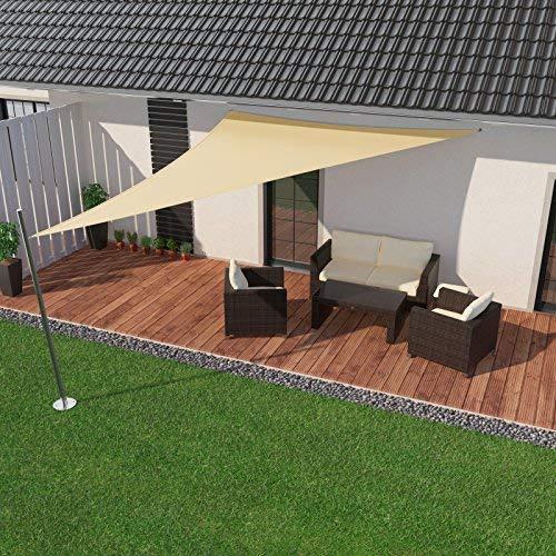 IBIZSAIL Sonnensegel wasserabweisend Sonnenschutz für Garten Balkon aus PES dreieckig-300 x 250 x 250 cm-Sand(inkl. Spannseilen)