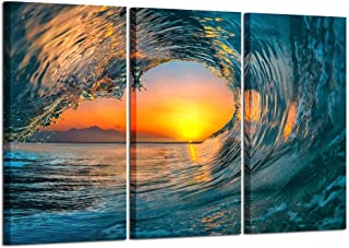 Kreative Arts Large 3 Pieces Canvas Prints Wall Art Sunset Sea Water Ocean Wave Pictures Paintings Modern Stretched and Framed Seascape Giclee Artwork Ready to Hang for Living Room Home Decorations