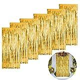 Yaclonq Paquete de 6 cortinas de flecos doradas, 1 x 2,5 m de oro metálico cortina para fiestas de sirena, cumpleaños, graduación, boda, compromiso, vacaciones