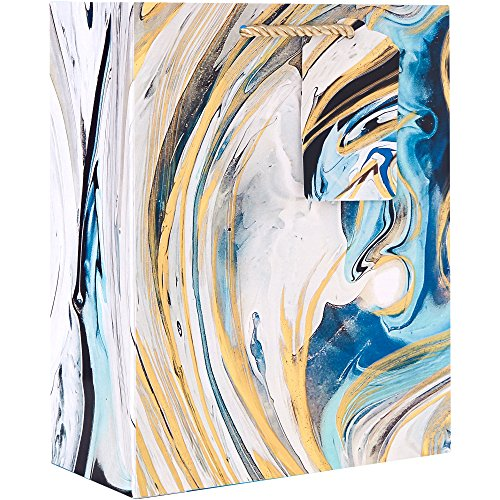 "Jillson Roberts 6-Count Medium 8"" x 10"" x 4"" All-Occasion Gift Bags Available in 17 Designs, Marbleized Magic"