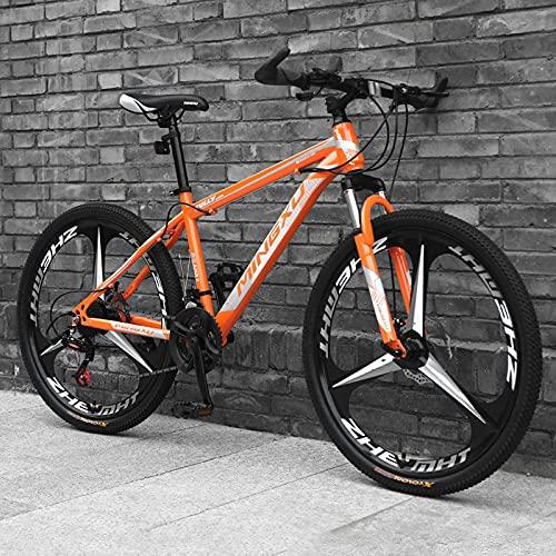 LZHi1 Mountain Bike 26 Pollici per Uomini E Donne, 27 velocità Doppia Disco Freno per Adulti per Adulti Biciclette da Montagna, Sedile Regolabile in Acciaio al Carbonio(Color:Arancia)