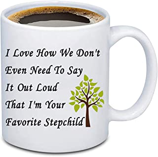 BEKECH Step Father Mug Step Mother Mug I Love How We Don't Even Need To Say It Out Loud That I'm Your Favorite Stepchild C...