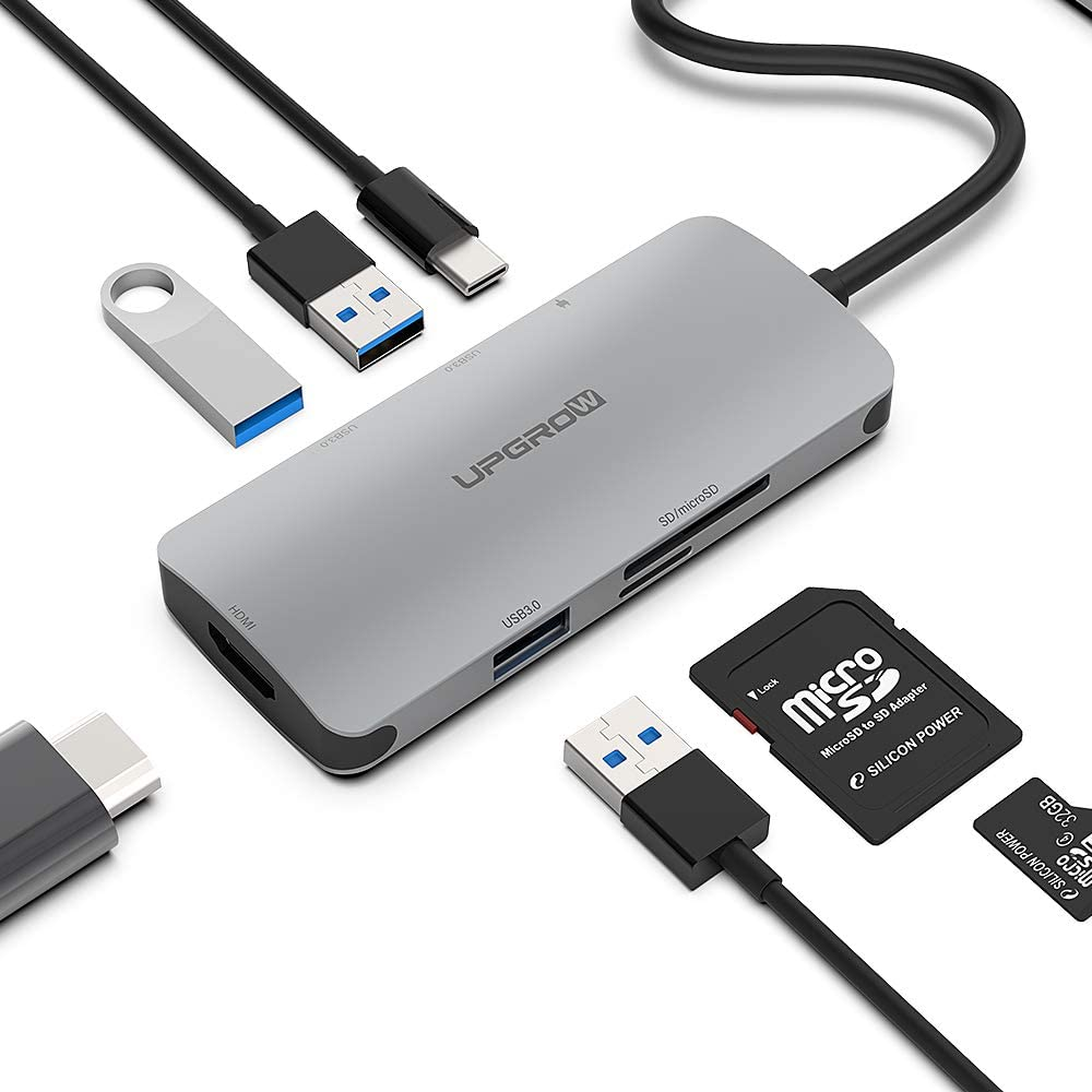 UPGROW USB C Hub 7-1 Multiport Adapter Portable with 4K HDMI, 3 USB 3.0 Ports, 100W PD Charger, TF/SD Card Reader, Type C Dock Compatible with MacBook Pro/Air, and More C Port Laptops
