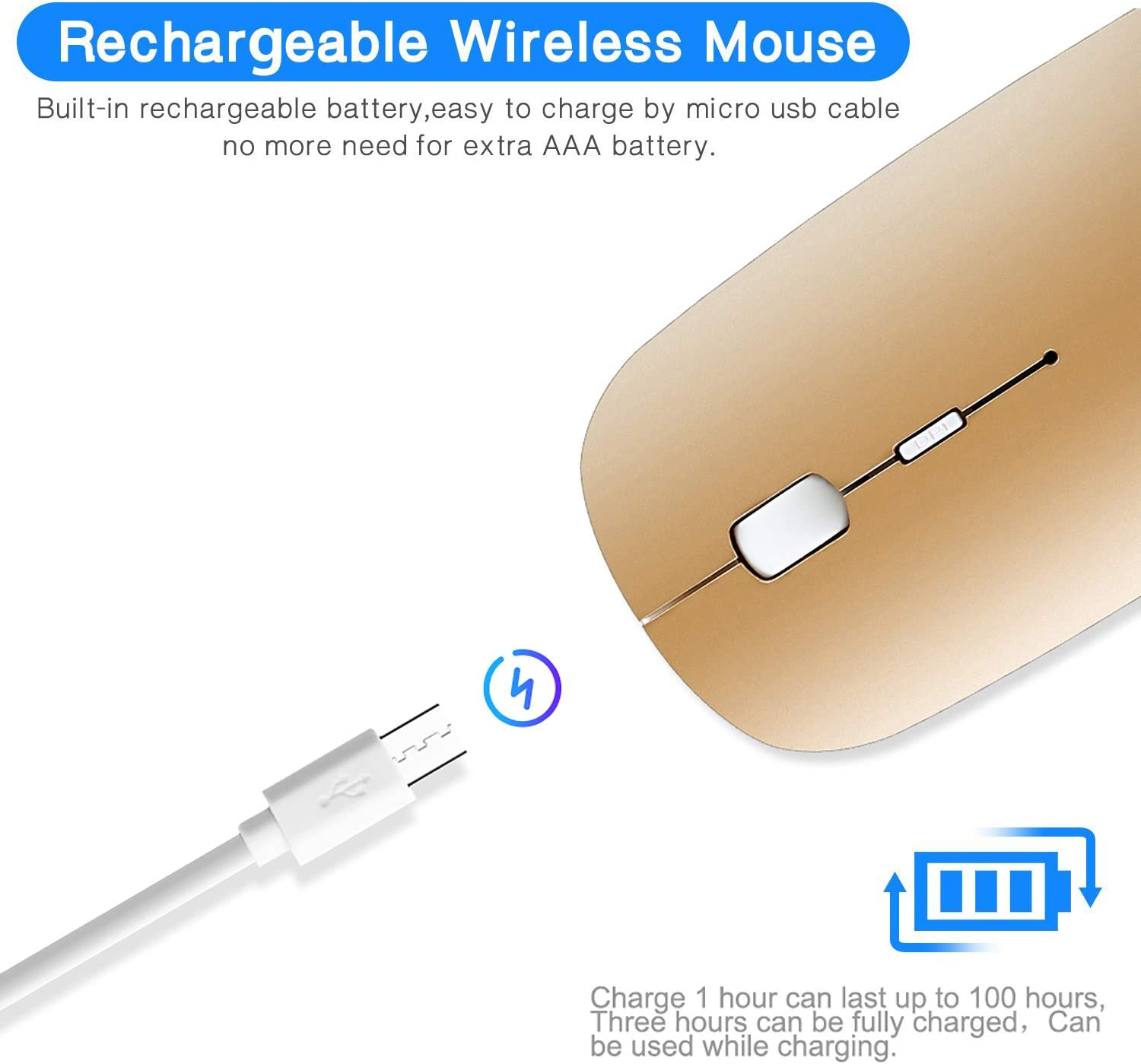 Rechargeable Wireless Mouse, 2.4G Slim Mute Silent Click Noiseless Optical Mouse with USB Receiver Compatible with Notebook, PC, Laptop, Computer, MacBook (Gold)
