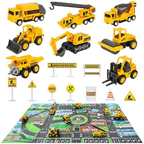 Construction Vehicles Truck Toys Set with Play Mat - 8 Mini Engineer Diecast Pull Back Cars, 22.7x32.7Inch Playmat & 12 Road Signs, Toy Car Set for Boys Toddlers Birthday Christmas 3+ Year Old