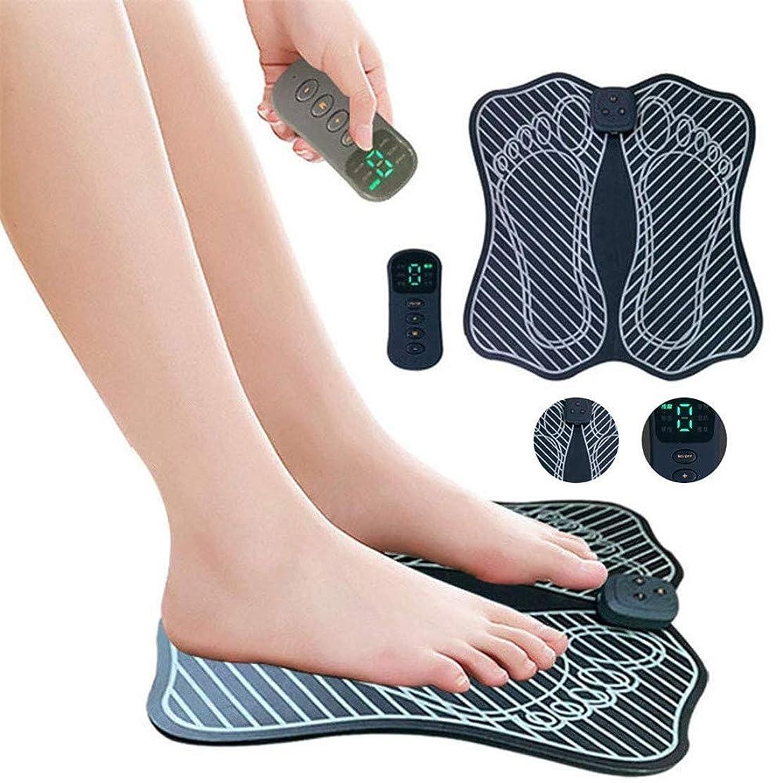 描写サラミ叱るフットマッサージャー、EMSリモートコントロールフットマッサージャーマット、USB充電式、血液の循環を改善し、痛みを緩和、疲労を軽減