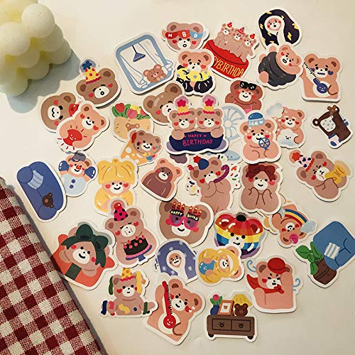 DSSJ 40 Ins Wind Cute Cartoon Happy Bears Pegatinas de Bolsillo Material de decoración de Bricolaje Pegatinas de Bolsillo