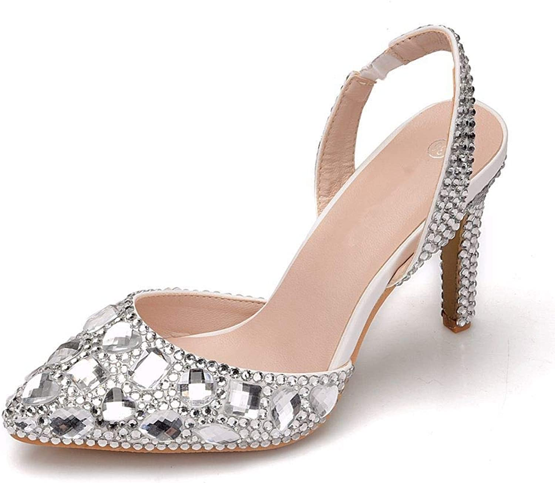 Lindarry Pumps for Women Pointed Toe Slingback 9cm High Stiletto Mules Big Rhinestone Decor Princess Sandals Sides Cut White Fashion (color   Silver, Size   4.5 M US)