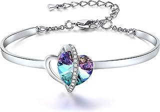 SNZM - Bracciale rigido da donna con cuore di Swarovski, regolabile, con cuore viola, per compleanno, anniversario, regalo...