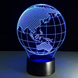 3D Optische Täuschung Ozeanien Karte Lampe Kinder Nachtlicht Baby Kinderzimmer Nachtlicht für Kinderzimmer Home Decor Weihnachten Geburtstag Geschenke mit 7 Farbwechsel
