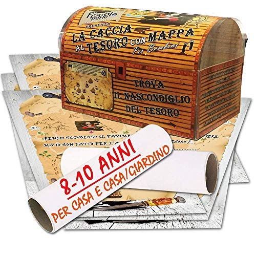 Caccia al tesoro con mappa in scatola per casa e casa/giardino 8-10 anni - per feste di compleanno -...
