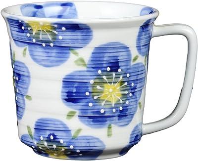 奥川陶器 一珍梅高台釉 軽量マグカップ(青) 383342