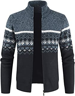 YOUTHUP Mens Knitted Cardigan Fleece Lining Sweater Pattern Knitwear Jumper Thick Winter Coat