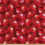 ABAKUHAUS rot Gewebe als Meterware, Erdbeeren Reife