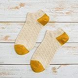 XINDUO Calcetines Cortos para Hombre y Mujer,Primavera Verano Color Color Casual Tubo Corto 5PCS-Apricot_Code,Calcetines Cortos de Bambú para Hombre y Mujer