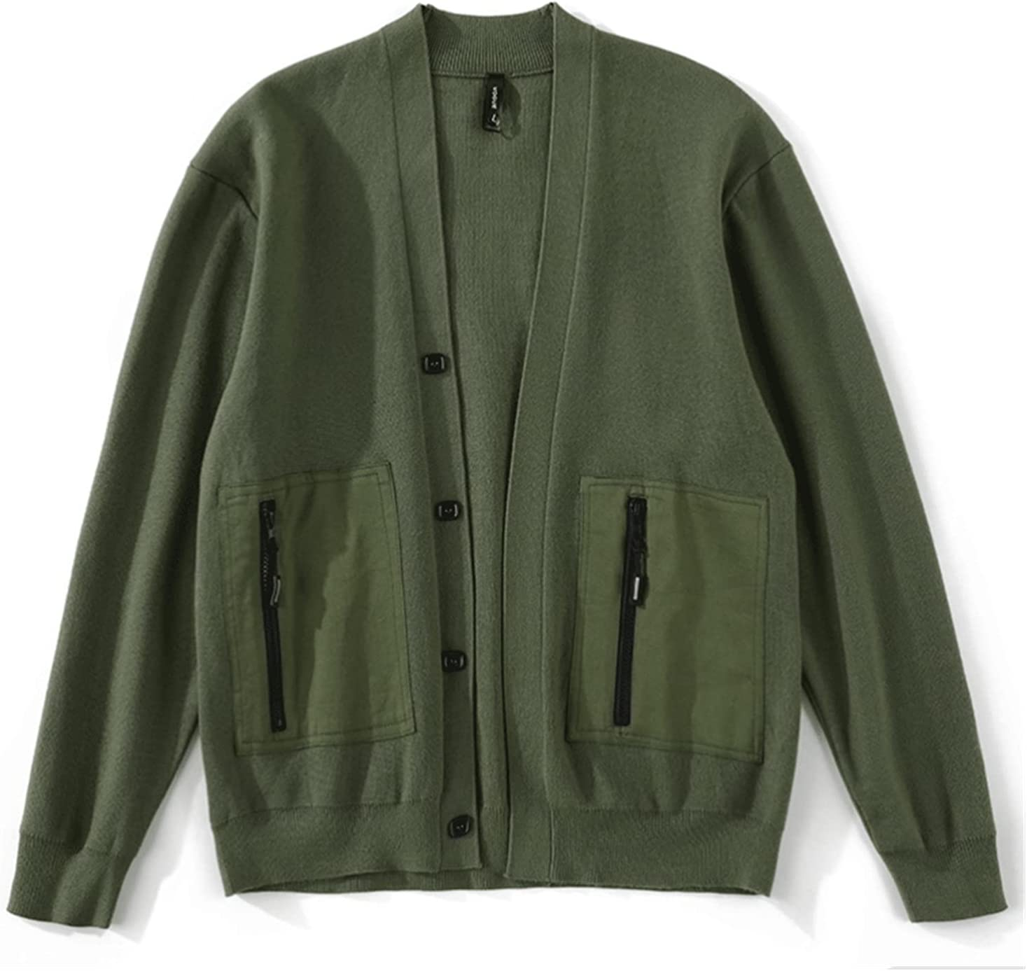 UXZDX Knit Cardigan Stitching Zipper Pocket Decoration Men's Retro Slim Knit Cardigan (Color : Green, Size : XXXXL Code)