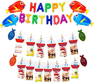 The Big One Bobber Gone Fishing Baby Monthly Photo Banner Little Fisherman Happy Birthday Letters Fish Balloon First Year Milestone Boys Photo Props Party Decoration Supplies