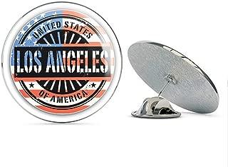 Los Angeles City USA Flag Grunge Stamp Round Metal 0.75
