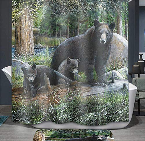 Ommda Duschvorhang Textil Wasserdicht Tier Digitaldruck Duschvorhang Anti-schimmel Waschbar mit 12 Duschvorhang Ring (Keine Matten) Bär 100x180cm