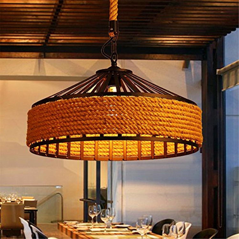 Lx.AZ.Kx Lampe Retro Pendelleuchte Restaurant Lampe gewebte Schmiedeeisen Durchmesser 30 cm