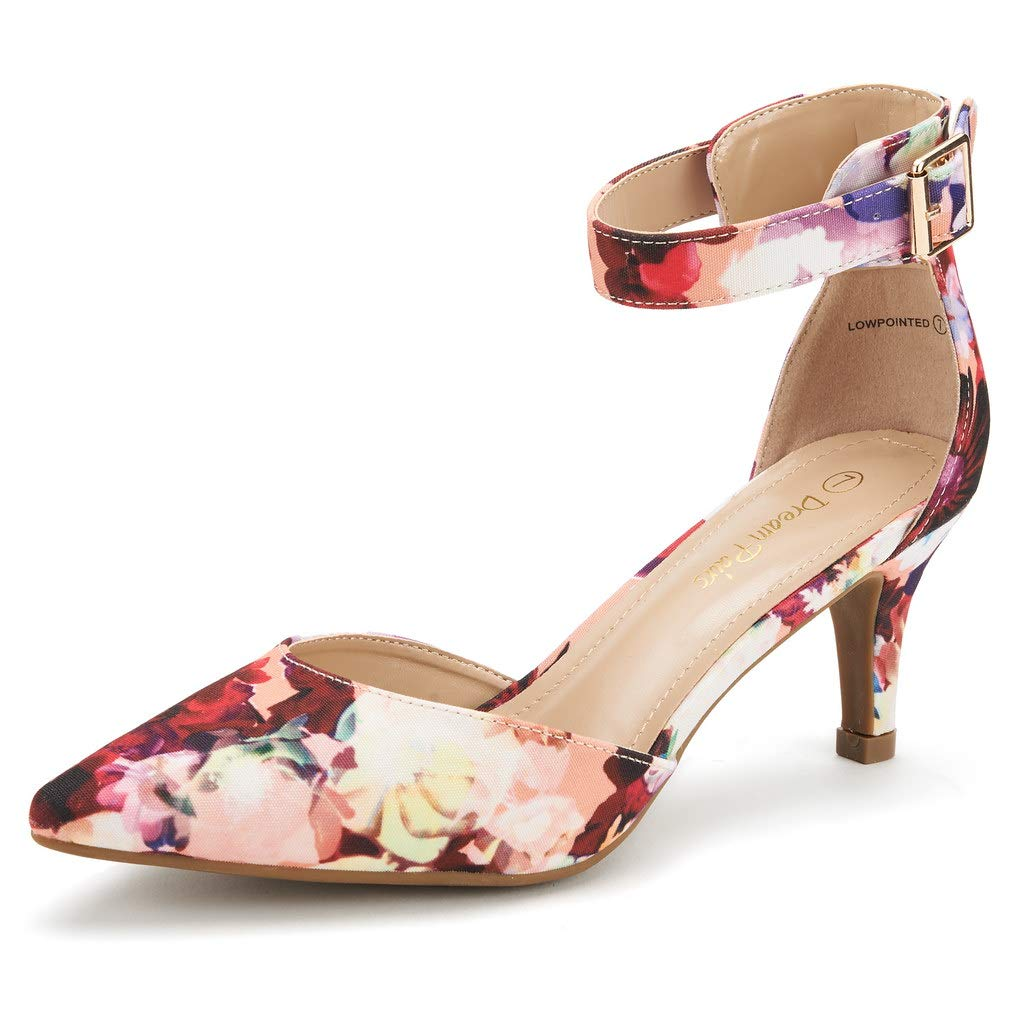 DREAM PAIRS Womens Lowpointed Floral