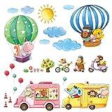 DECOWALL DA-18061P14064 Transportes de Animales Globo Aerostático Vinilo Pegatinas Decorativas Adhesiva Pared Dormitorio Salón Guardería Habitación Infantiles Niños Bebés